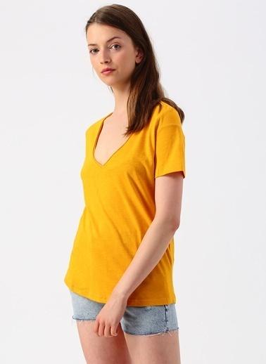 Only Only V Yaka Sarı T-Shirt Sarı